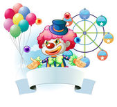 A clown with a signage and a ferris wheel and balloons at the ba — Stock Vector