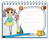 Notebook z rysunku młoda dziewczyna z kwiatami — Wektor stockowy