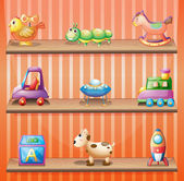 Three wooden shelves with toys — Stock Vector