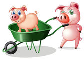 Two pigs with a green cart — Stock Vector