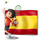 A tennis player in front of the Spanish flag — Stock Vector