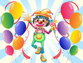 A clown in the middle of the balloons with flowers — Stock Vector