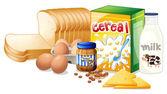 Foods ideal for breakfast — Stock Vector