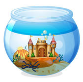 A castle inside the aquarium — Stock Vector