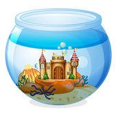 A castle inside the aquarium — Stock Vector