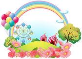 Una colina con carpas de circo, globos y una noria — Vector de stock