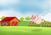 A pig jumping at the farm — Stock Vector