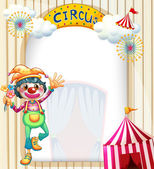 A circus entrance with a clown — Stock Vector