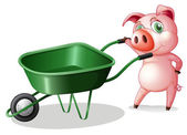 A pig holding a wheelbarrow — Stock Vector