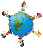Six kids walking around the planet earth — Stock Vector