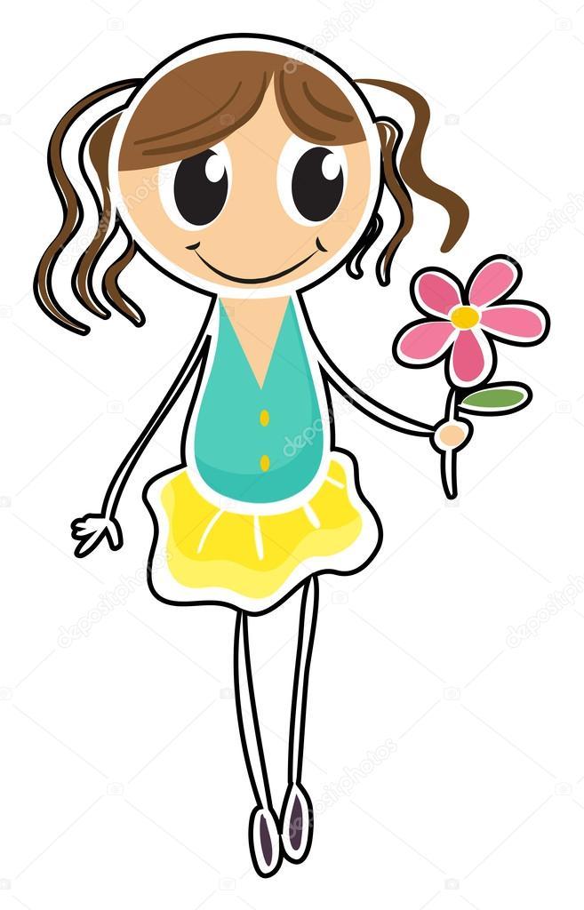 在白色背景上持有一朵花的插图