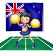 A cute cheerdancer in front of the New Zealand flag — Imagen vectorial