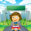 Stock Vector: A girl in her car below an empty signage