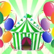 Royalty-Free Stock Vector Image: A green circus tent at the center of the colorful balloons