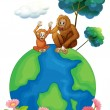 A small and a big orangutan sitting above the planet earth - Stock Vector