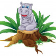 A hippopotamus sitting above the wood - Stok Vektr
