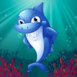 A blue shark smiling under the sea - Stock Vector