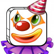 A square-faced clown with a party hat - Stock Vector