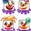 Four square faces of a clown — Stock Vector