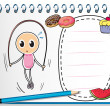 A notebook with a drawing of a girl playing with the jumping rop — Imagen vectorial