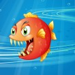 A red piranha under the sea — Stock Vector