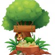 Royalty-Free Stock Imagen vectorial: A turtle and a lion under the tree with a wooden signboard