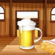 Stock Vector: A mug of cold beer and french fries at the saloon bar