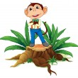 A monkey standing above the wood — Stock Vector