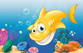 A yellow shark smiling under the sea — Stock Vector