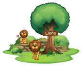 Two lions with a wooden signboard — Stock Vector