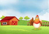 A hen at the farm — Stock Vector