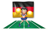 A cheerleader in front of the German flag — Stock Vector