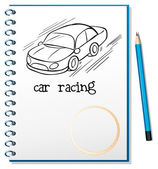 A notebook with a drawing of a car racing — Stock Vector