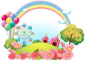 A hill with circus tents, balloons and a ferris wheel — Stock Vector