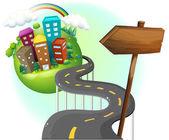 一条路可以到城市与 arrowboard — 图库矢量图片