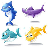 A group of sharks — Stock Vector