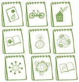 Notebooks with green drawings at the cover page — Stock Vector