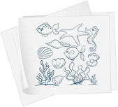 A paper with a drawing of the different underwater species — Stock Vector