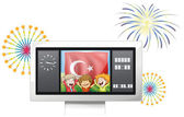 A scoreboard with the flag of Turkey and three boys — Stock Vector