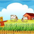 A scarecrow with two cows inside the fence - Stock Vector