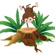 A tree with a small playful monkey - Stock Vector
