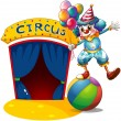 A clown with balloons balancing above a ball -  