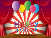 A happy birthday greeting at the stage — Stock Vector