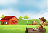 A boy at the farm sitting in the wood with a wooden house — Stock Vector