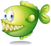 A green piranha — Stock Vector