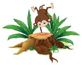 A tree with a small playful monkey — Stock Vector