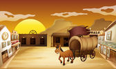 A carriage outside the saloon bar — Stock Vector