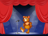 A stage with a bear performing — Stock Vector