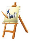 En målning med en pensel — Stockvektor