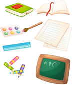 Different things used in the school — Stock Vector